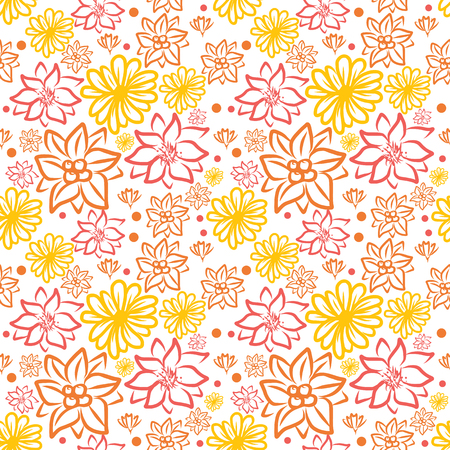 vector of colorful doodle flower pattern seamless on white background