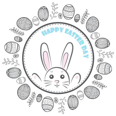 Vector of doodle Easter eggs and cute bunny in frame on white background Illustration