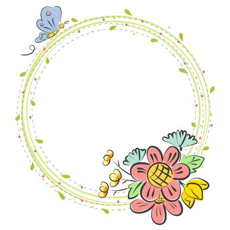 Flower doodle frame vector on white background