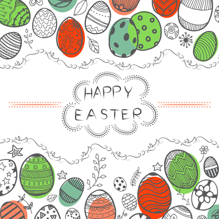 Vector of doodle Easter eggs on white background