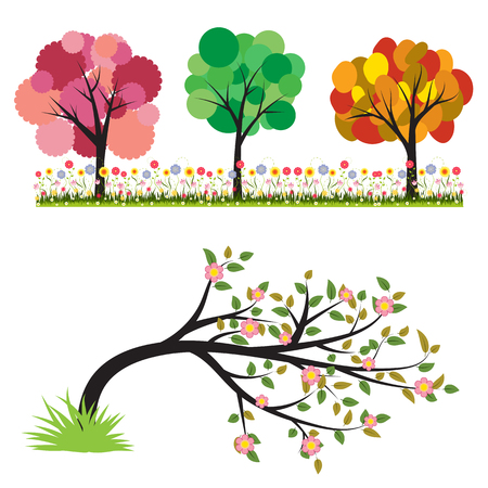 Colorful of tree vector illustration set