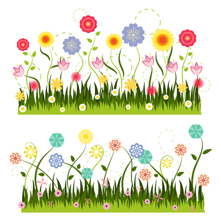 Green grass and colorful flower vector on white background
