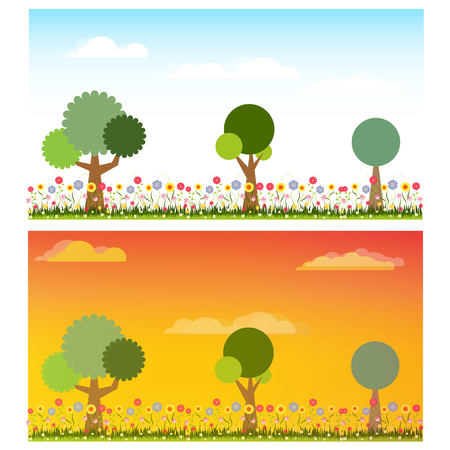 Two landscape of flower and tree nature in a day and evening time vector illustration