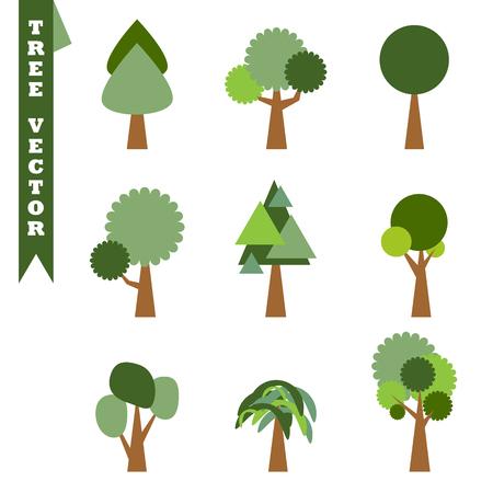 Vector illustration set of trees symbol on white background