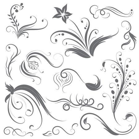 Flower calligraphy line vector set