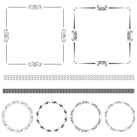 Vector set of calligraphic decorative vintage frame