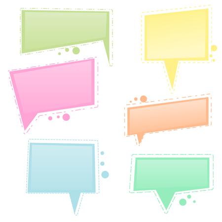 Vector set of colorful square speech bubble