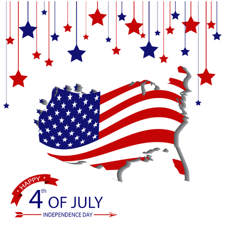 Fourth of July, USA Independence day with America map and flag vector design
