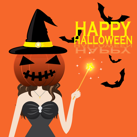 night dress: cartoon vector of portrait girl in witch dress put the head with pumpkin mask holding magic wand and happy Halloween word Illustration