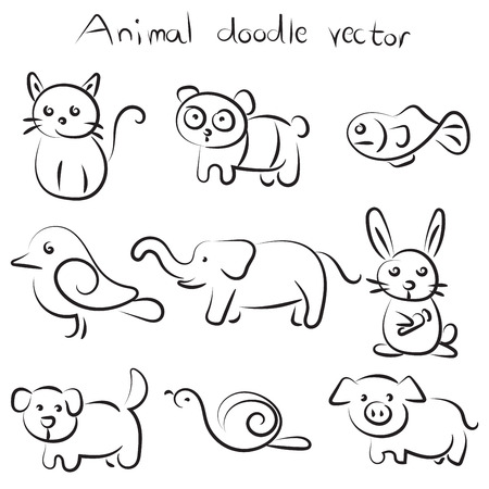 Collection set of cute animal doodle vector