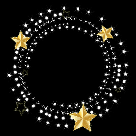 vector of gold star with light effect of white stars glitter sparkles ray isolated on black background