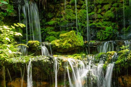 beautiful garden waterfall in the outdoor