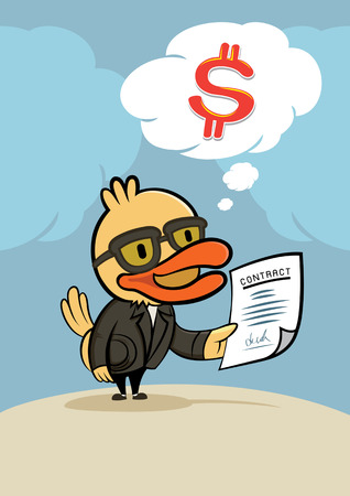 new contract: duck businessman with new contract and think for dollar money