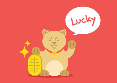 money cat: lucky catis standing with golden coin and say lucky.