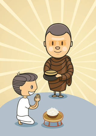 monk standing with bowl food in early morning near praying boy