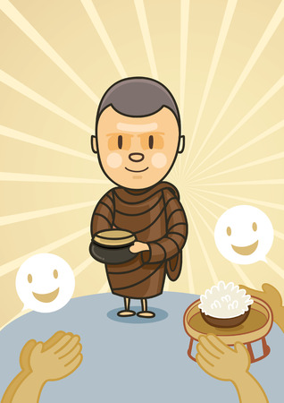monk standing with bowl food in early morning Illustration