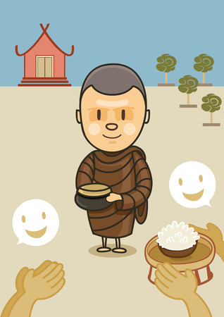 monk standing with bowl food in early morning in front of temple