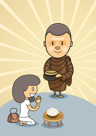 monk standing with bowl food in early morning near praying girl