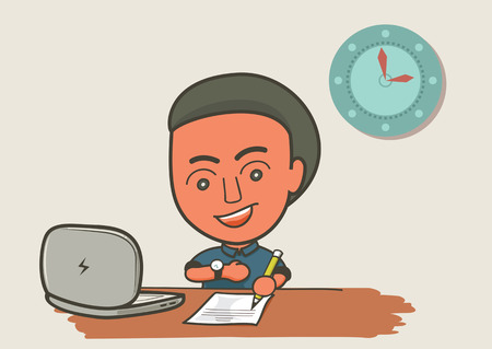 calm down: worker come to work on time on workspace