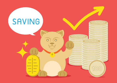 lucky money: lucky catis standing with golden coin and money coin say saving word. Illustration