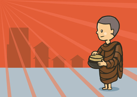 early morning: monk hold bowl food in early morning for seek food in community Illustration