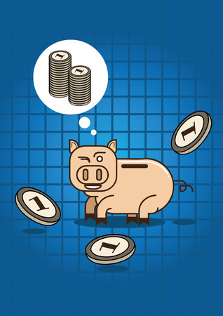 money box: many coin fall refer to saving for wealth with pig money box