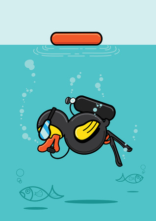 clound: duck in diving suit with snockle and oxygen tank diving underwater to see fish.