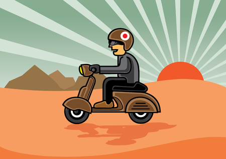 siluet: A man with helmet on scooter on desert