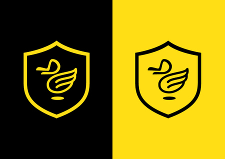 sheild: Duck fly logo with armsheild.The head duck design from D letter form. Illustration