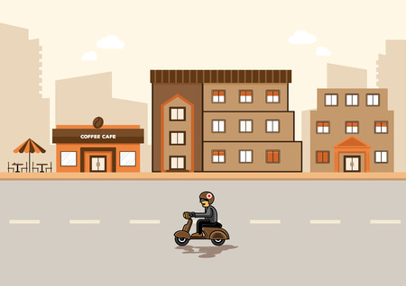 clound: man with helmet  drive scooter in city and building background