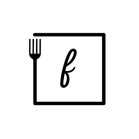 f letter lowercase logo and fork logo design with box