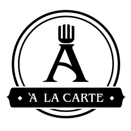 consume: letter a with fork in dish logo design in black color minimal look