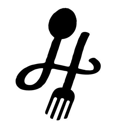 H lettera marchio con cucchiaio e forchetta in colore nero look minimal Archivio Fotografico - 47477728