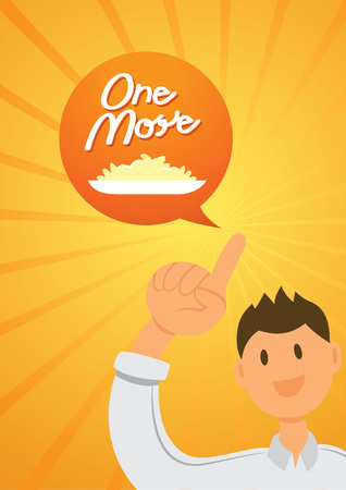 one finger: one man put his hand up with one finger to order one dish of rice.