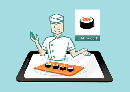 sell online: japanese chef sell sushi online in internet network