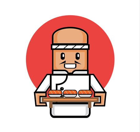 wooden board: old japanese chef serve salmon sushi with wooden board tray for customer