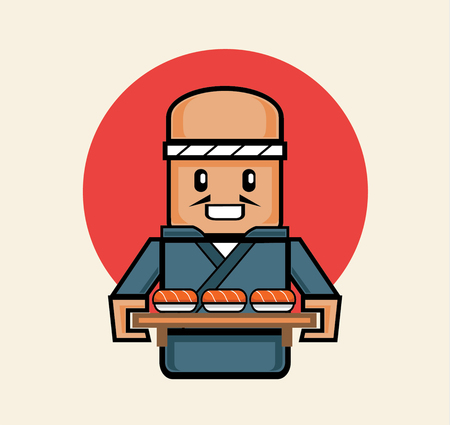 serve: old japanese chef serve salmon sushi in traditional suit with wooden board tray for customer Illustration