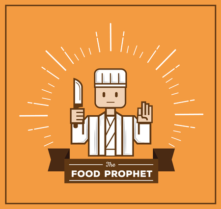 vanishing point: food prophet hold knife and hand sign the three finger with beam Illustration