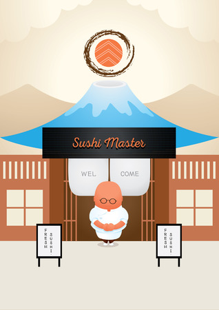fish meal: master japanese sushi welcome in front of his shop