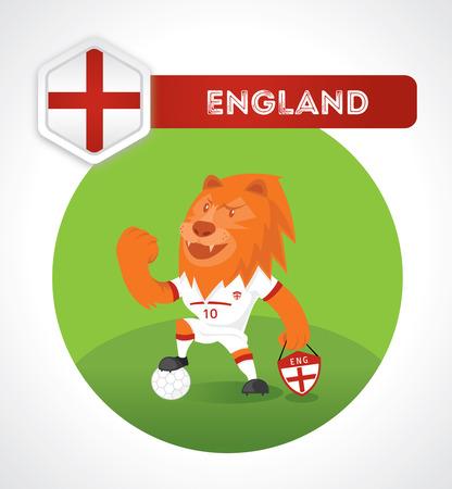 pelota caricatura: car�cter f�tbol le�n en el juego de f�tbol con Francia emblema nacional Vectores