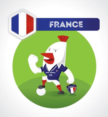 pelota caricatura: car�cter de f�tbol de pollo en el juego de f�tbol con Francia emblema nacional