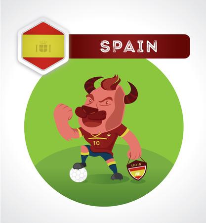pelota caricatura: personaje del f�tbol de Bull en el juego de f�tbol con Espa�a emblema nacional Vectores
