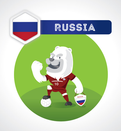 brave of sport: white bear soccer character in soccer suit with Spain national emblem