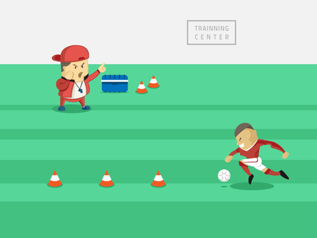 footballer: training footballer in training center with his strategy