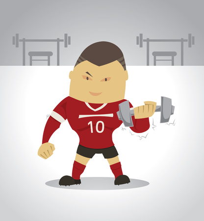 build up: footballer build up muscles with weight trainning in gym.