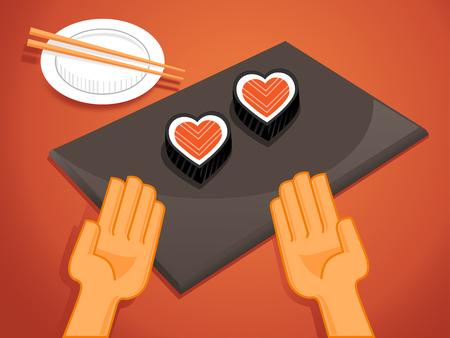 enamorados caricatura: chef de sushi sirven sushi pares del coraz�n para el cliente con el amor