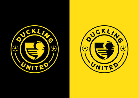 sheild: duckling united team design with arm shield shape and form with flying duckling Illustration