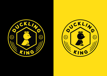 sheild: duckling king team design with hexagonal shape and form with crown on duckling head
