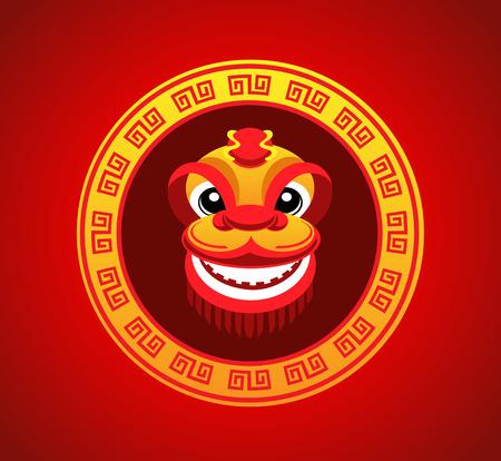 tanzen cartoon: L�wenkopf Tanzen in der chinesischen Neujahr im Kreis chinesischen Frame-Stil L�cheln