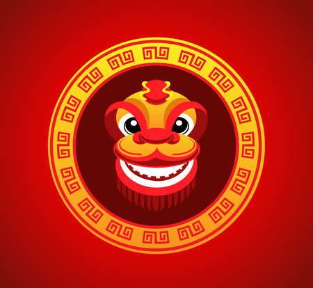 happy new year cartoon: lion head dancing smile in chinese new year in circle chinese frame style Illustration